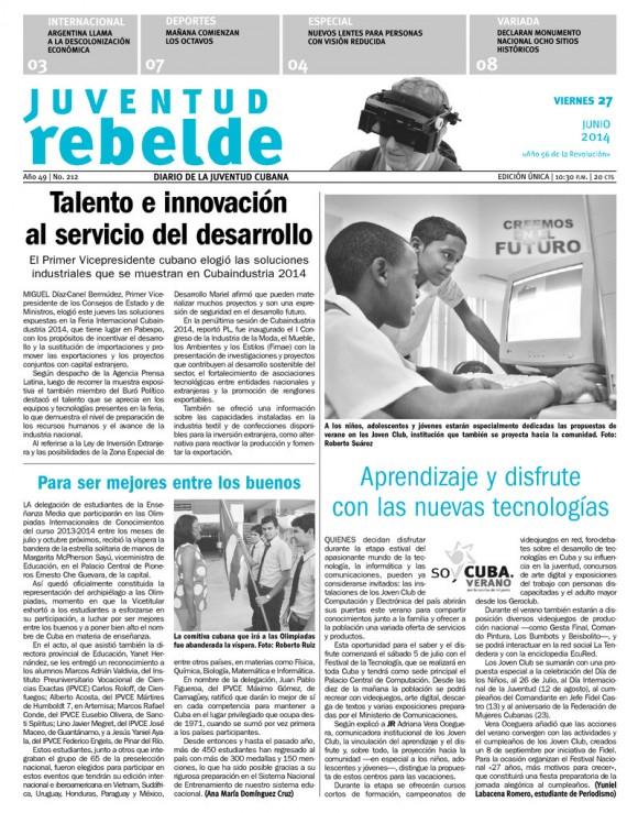 Periódico Juventud Rebelde, viernes 27 de junio de 2014