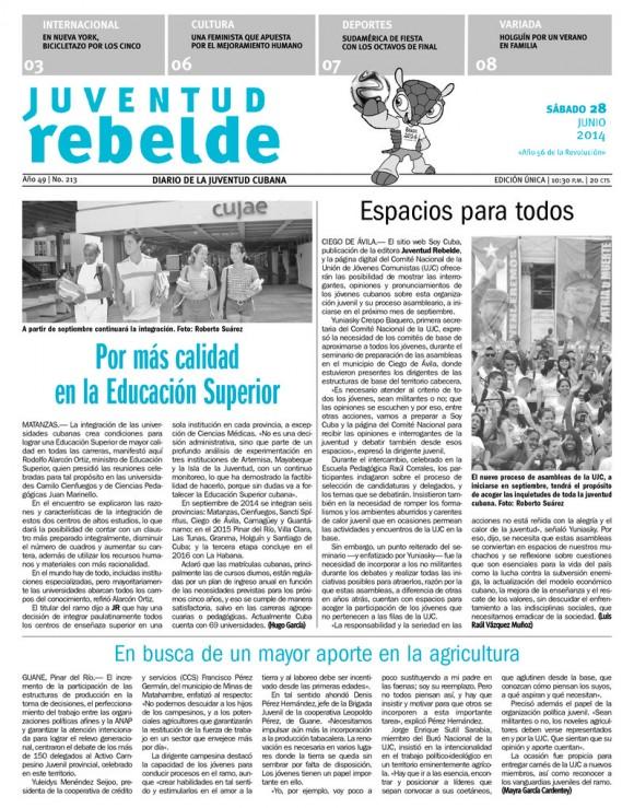 Periódico Juventud Rebelde, sábado 28 de junio de 2014