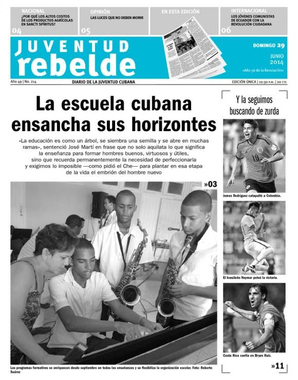 Periódico Juventud Rebelde, domingo 29 de junio de 2014