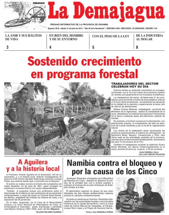 Periódico La Demajagua, provincia Granma, sábado 21 de junio de 2014