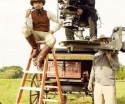 Leonardo Di Caprio tomando un descanso durante la grabación de Django