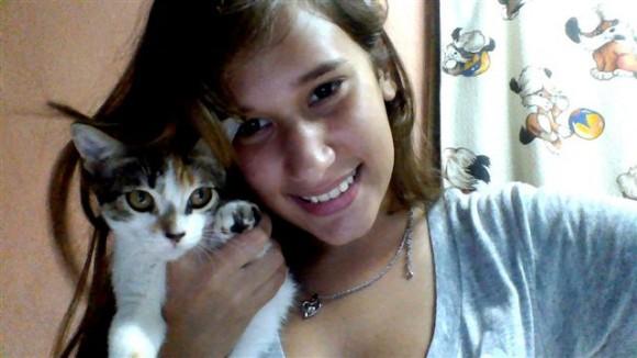 María Isabel y su gato Foto Margarita