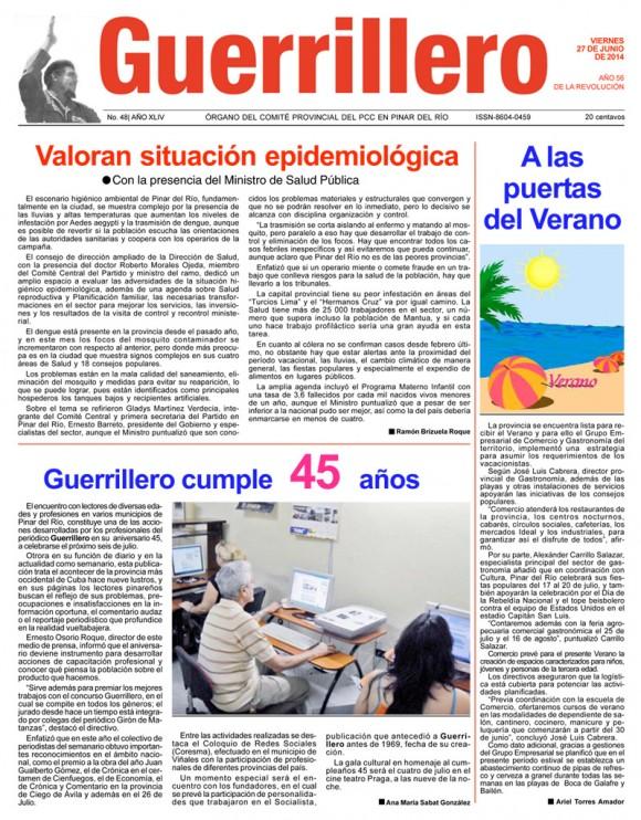 Periódico Guerrillero, provincia de Pinar del Río, viernes 27 de junio de 2014