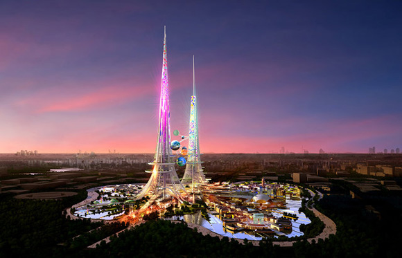 El empleo de un par de torres refleja los elementos dualist de cultura china en contraste con una forma más Occidental monolítica.