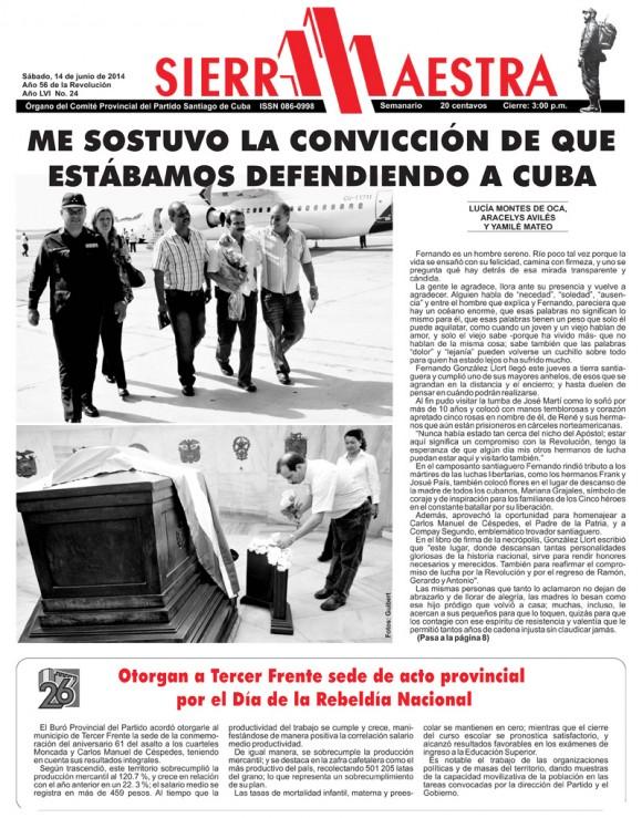 Periódico Sierra Maestra, provincia Santiago de Cuba, sábado 14 de junio de 2014