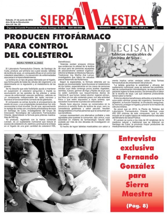 Periódico Sierra Maestra, provincia de Santiago de Cuba, sábado 21 de junio de 2014