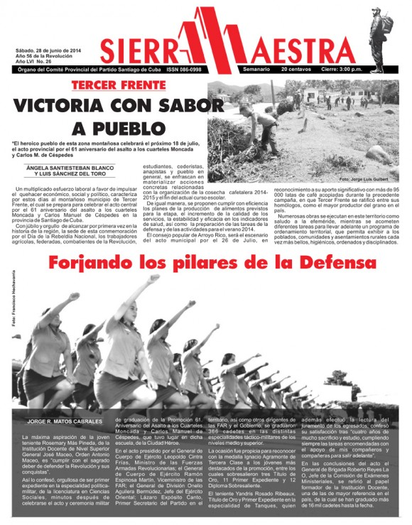 Periódico Sierra Maestra, provincia Santiago de Cuba, sábado 28 de junio de 2014
