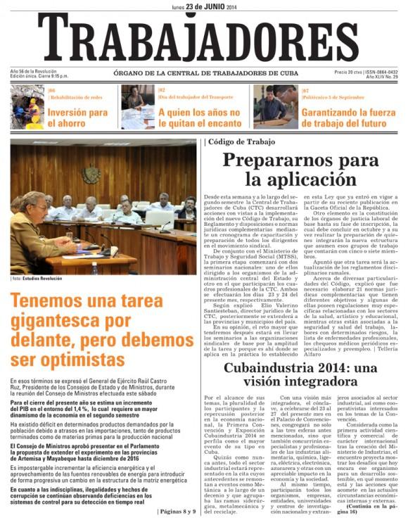 Periódico Trabajadores, lunes 23 de junio de 2014
