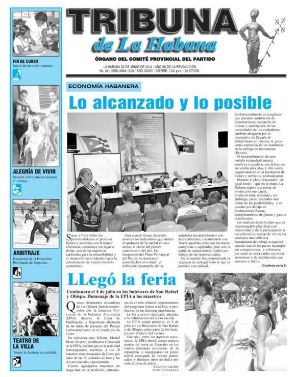 Periódico Tribuna de La Habana, domingo 29 de junio de 2014