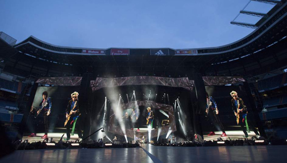 The Rolling Stones durante su actuación en el estadio Santiago Bernabéu de Madrid.  Foto: EFE.