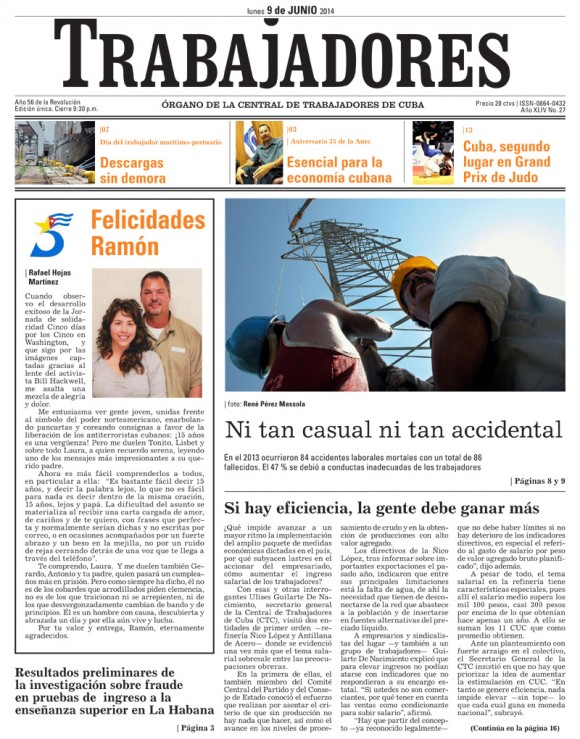 Periódico Trabajadores, 09 de junio de 2014