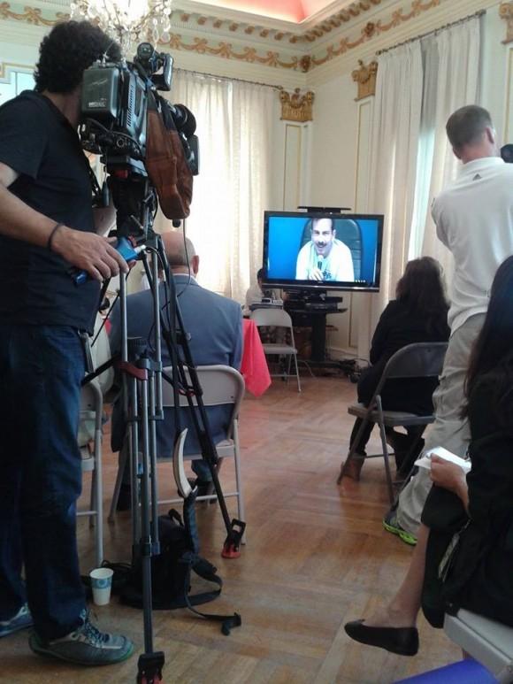 Videoconferencia entre La Habana y Washington, sobre los Cinco Héroes, panel participante desde EEUU. Foto: Katrien Demuynck