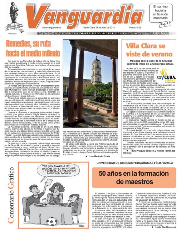 Periódico Vanguardia, provincia Villa Clara, sábado 28 de junio de 2014