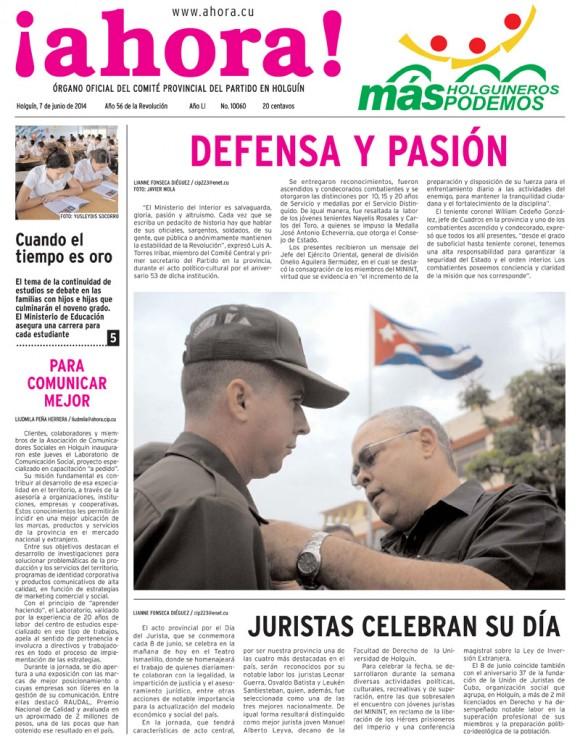 Periódico Ahora, Holguín, sábado 7 de junio de 2014