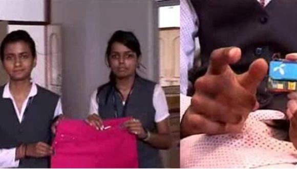 antiviolaciones India: Dos universitarias de la India, Rijul Pandey y Shalini Yadav, han estrenado esta semana un nuevo invento: los vaqueros y el calzado 'antiviolaciones'.
