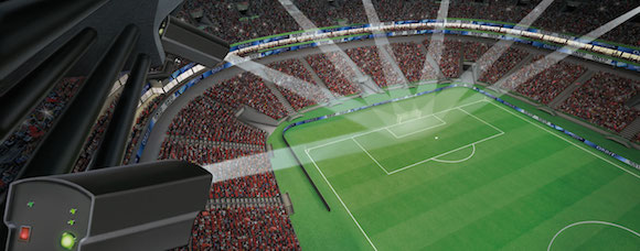 Sistema de cámaras para detectar los goles automáticamente. Foto: GoalControl.