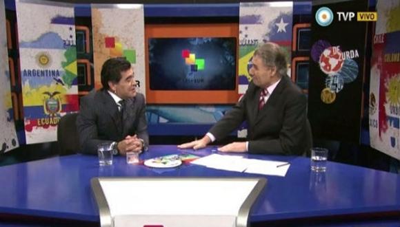 """Diego Armando Maradona y Víctor Hugo Morales en """"De Zurda""""."""