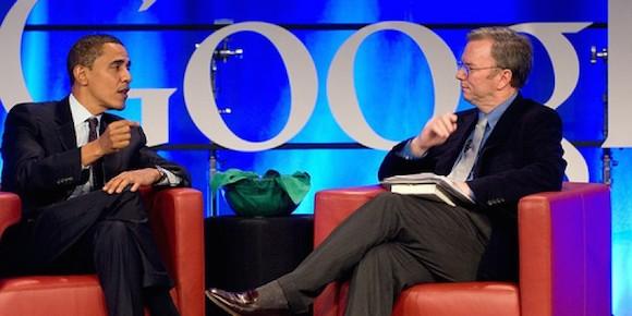 Eric Schmidt junto a Barack Obama.