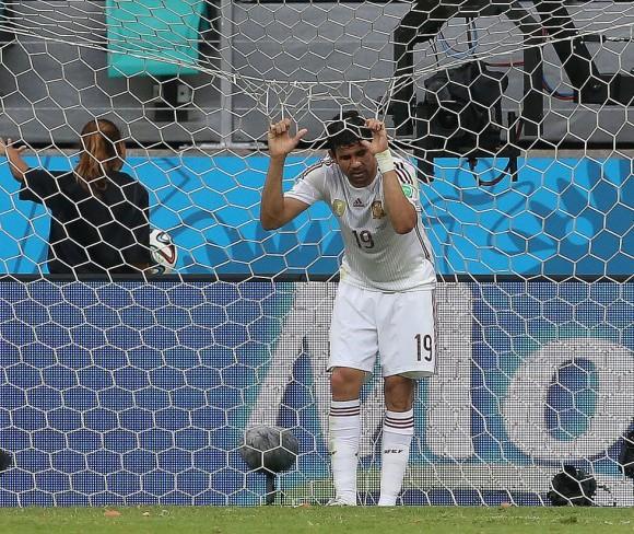 Diego Costa durante el encuentro del equipo español contra Holanda en el mundial. Foto: El País.