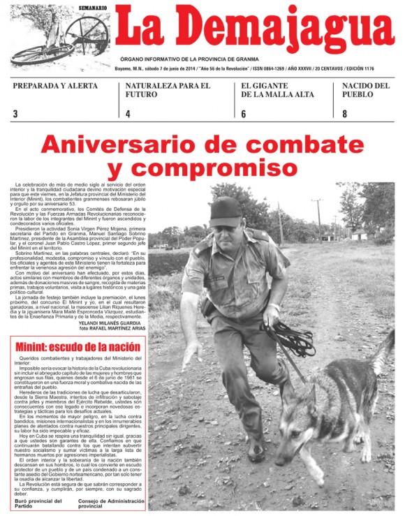 Periódico La Demajagua, Granma, sábado 7 de junio de 2014