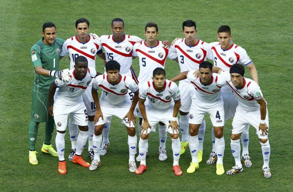 Costa Rica's national soccer players pose for a team photo during their 2014 World Cup Group D soccer match against Uruguay at the Castelao arena in Fortaleza