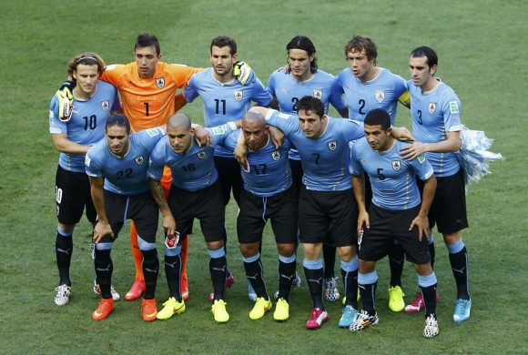 Uruguay's national soccer players pose for a photo during their 2014 World Cup Group D soccer match against Costa Rica at the Castelao arena in Fortaleza