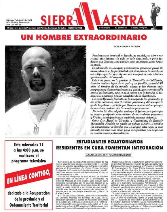 Periódico Sierra Maestra, Santiago de Cuba, sábado 7 de junio de 2014