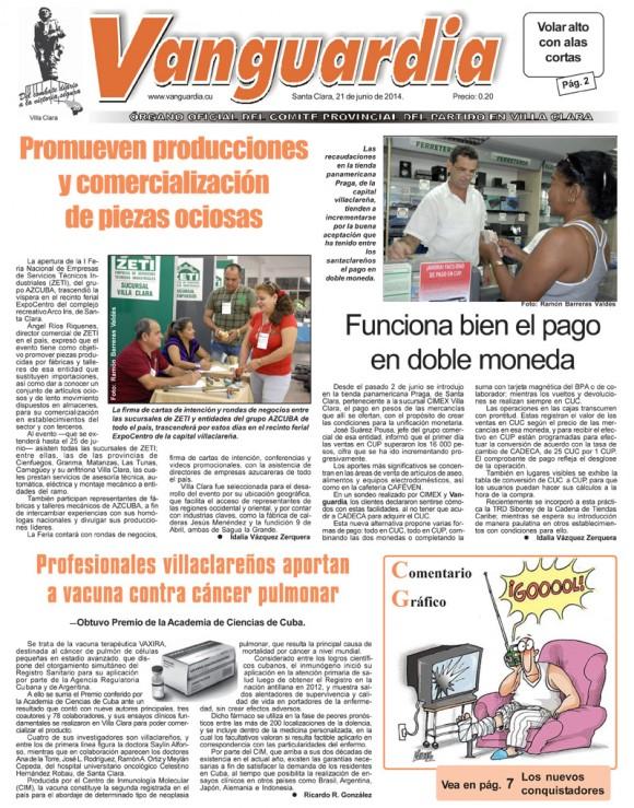 Periódico Vanguardia, provincia Villa Cara, sábado 21 de junio de 2014