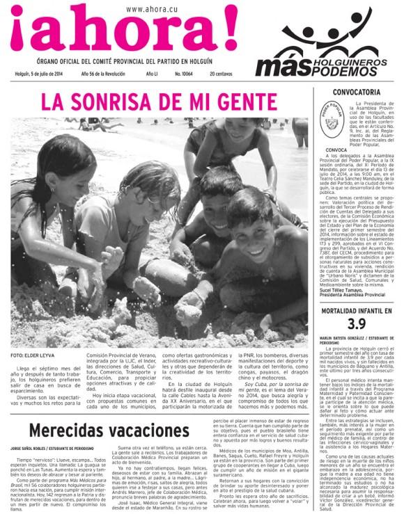 Periódico Ahora, Holguín, sábado 5 de julio de 2014