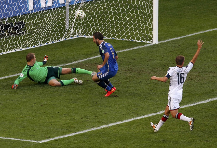 Argentina's Gonzalo Higuain scores a goal that was disallowed for being offside during their 2014 World Cup final against Germany at the Maracana stadium in Rio de Janeiro