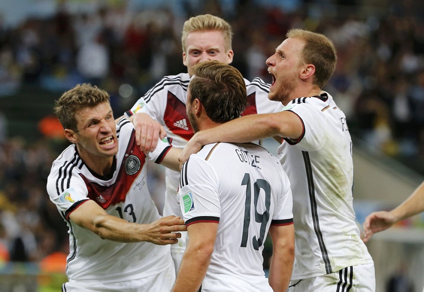 Germany's Goetze celebrates after scoring against Argentina during extra time in their 2014 World Cup final at the Maracana stadium in Rio de Janeiro