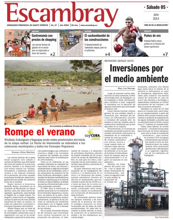 Periódico Escambray, Sancti Spíritus, sábado 5 de julio de 2014