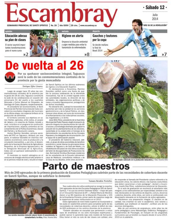 Periódico Escambray, provincia Sancti Spíritus, sábado 12 de julio de 2014