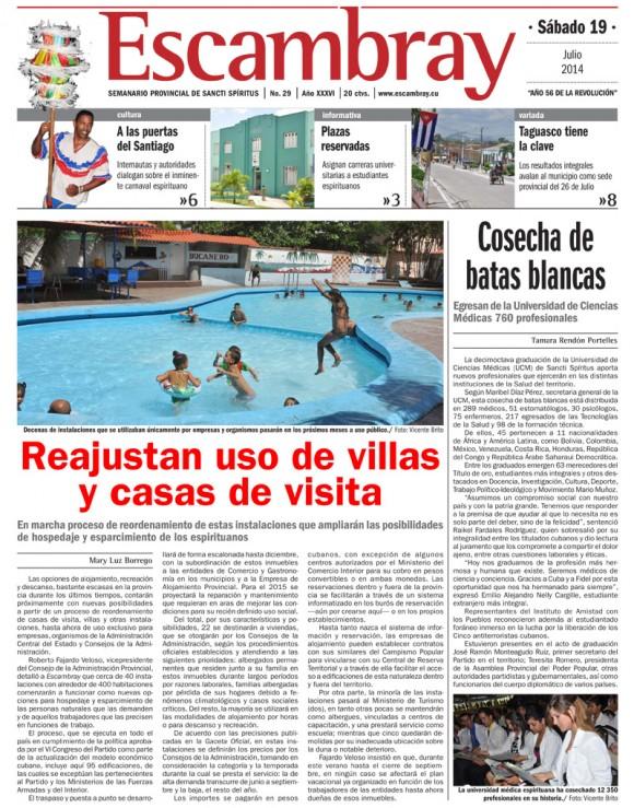 Periódico Escambray, provincia de Sancti Spíritus, sábado 19 de julio de 2014