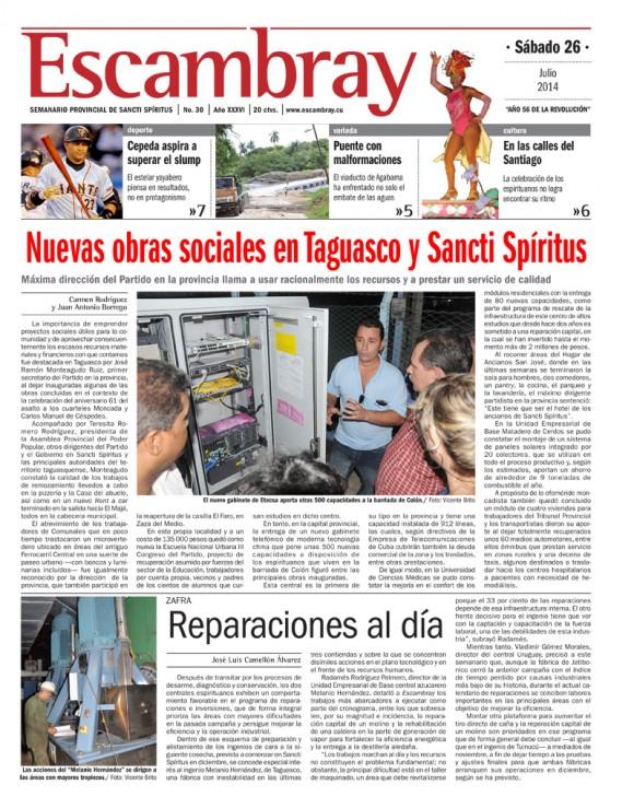 Periódico Escambray, provincia Santi Spiritus, sábado 26 de julio de 2014.