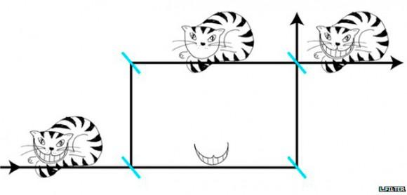 Foto: El gato (el neutrón) va por el camino de arriba, y su sonrisa (el momento magnético) va por el de abajo / BBC Mundo