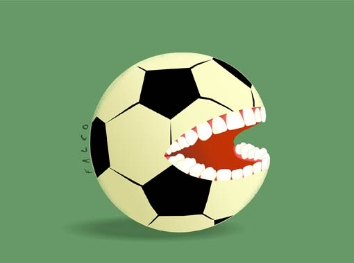 Fútbol mordida. Caricatura: Falco