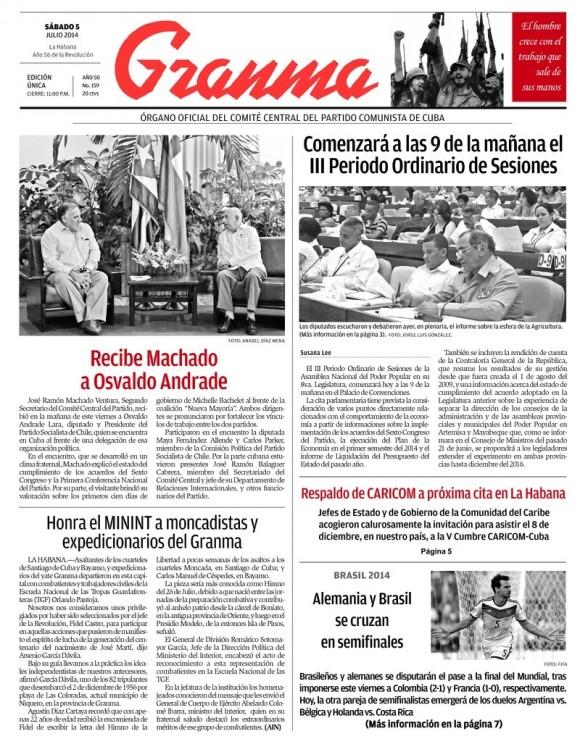 Periódico Granma, sábado 5 de julio de 2014