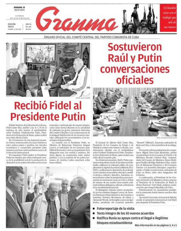 Periódico Granma, sábado 12 de julio de 2014
