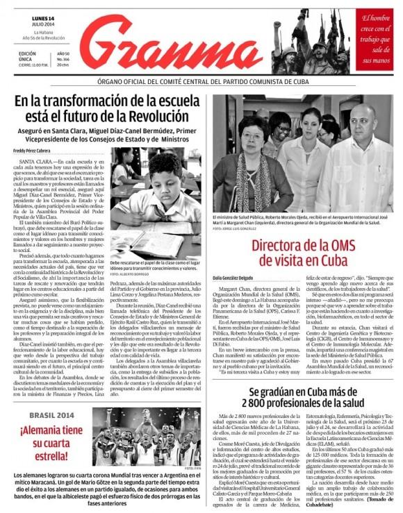 Periódico Granma, lunes 14 de julio de 2014