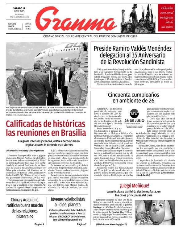 Periódico Granma, sábado 19 de julio de 2014