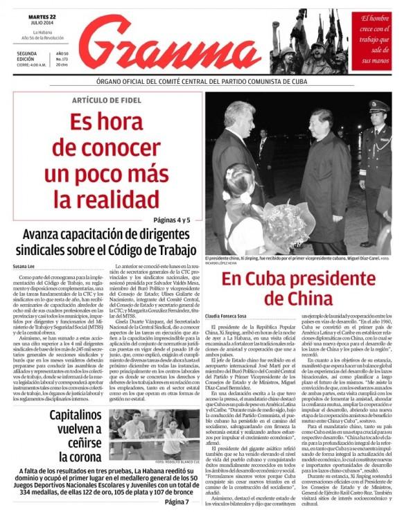 Periódico Granma, martes 22 de julio de 2014