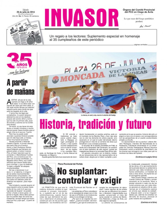 Periódico Invasor, provincia Ciego de Avila, sábado 26 de julio de 2014.