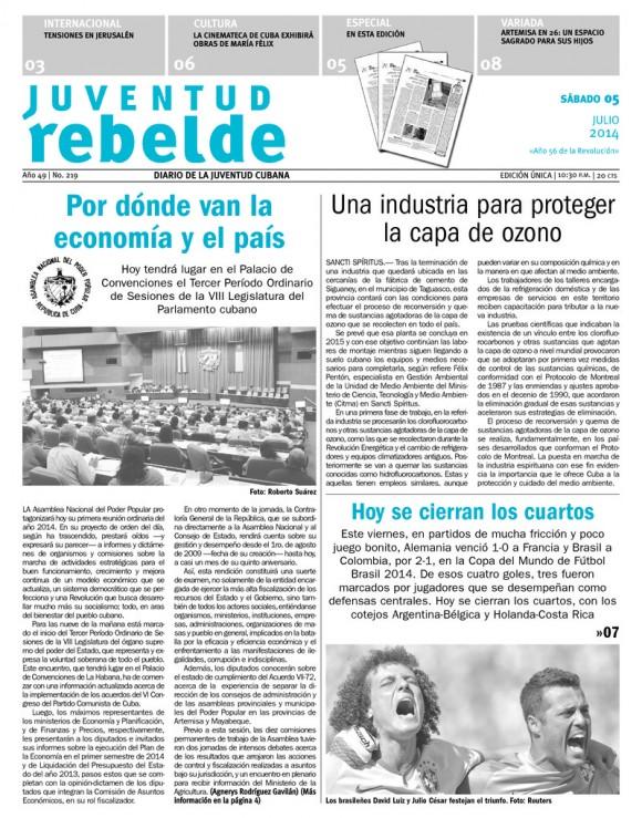 Periódico Juventud Rebelde, sábado 5 de julio de 2014
