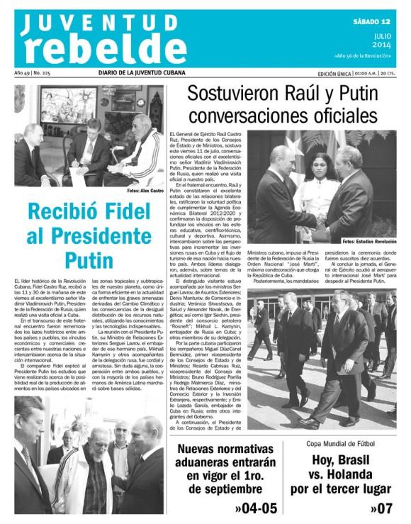 Periódico Juventud Rebelde, sábado 12 de julio de 2014