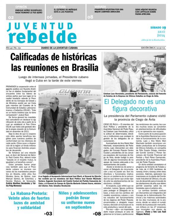 Periódico Juventud Rebelde, sábado 19 de julio de 2014