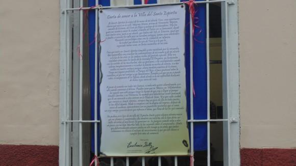 Carta de la poeta Liudmila Quincoses a su ciudad de Sancti Spíritus. Foto: Jorge Meneses Bernal