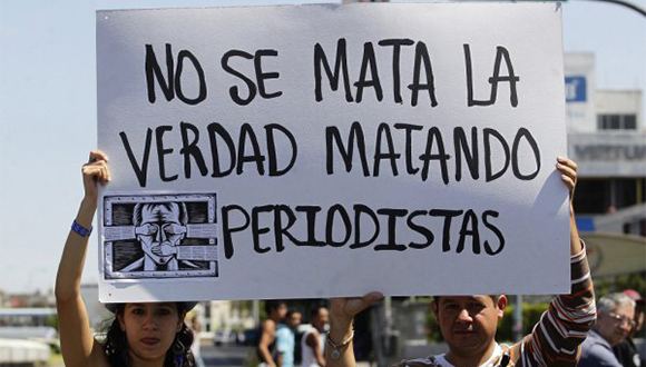 Protesta contra el asesinato de periodistas en México. Foto tomada de periodistadigital.com