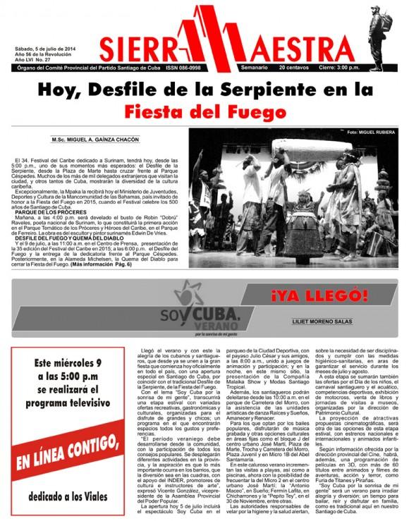 Periódico Sierra Maestra, Santiago de Cuba, sábado 5 de julio de 2014