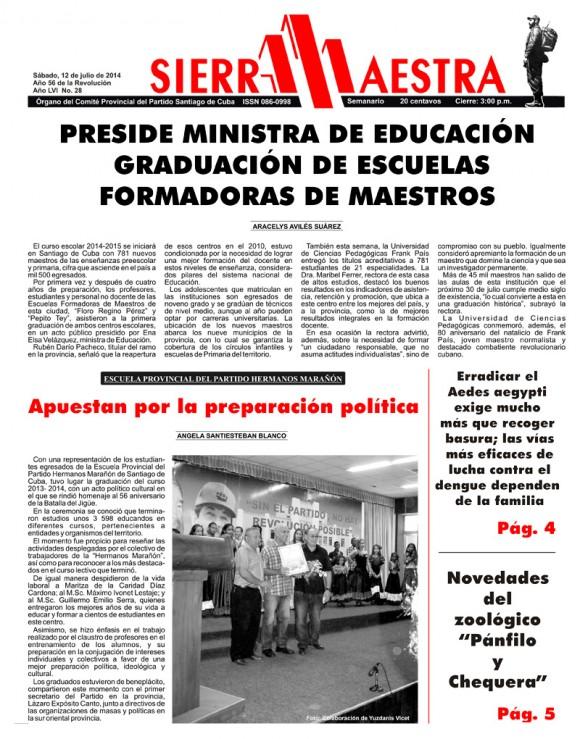 Periódico Sierra Maestra, provincia Santiago de Cuba, sábado 12 de julio de 2014